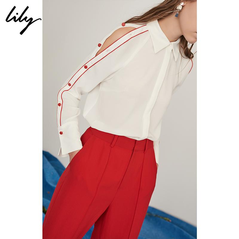 Lily女装雪纺衬衫红色纽扣可露肩长袖白色衬衫2018夏新款