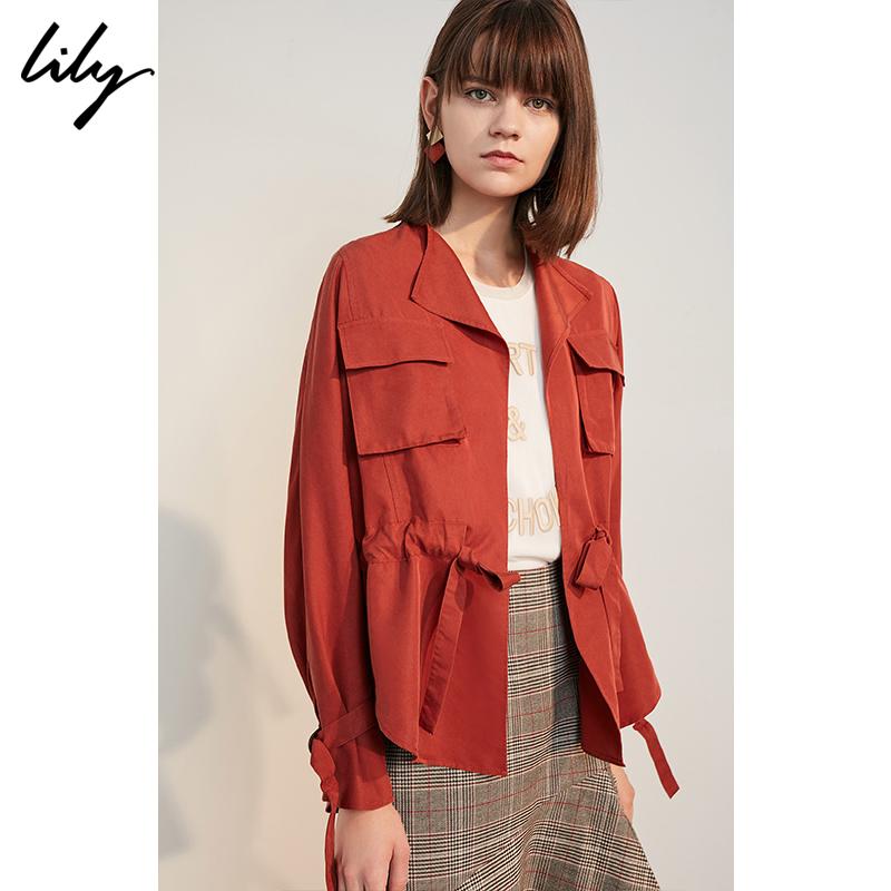Lily2018秋新款女装纯色绣红系带无扣宽松短外套118320C3609