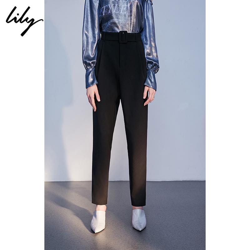 Lily2018秋新款女装黑色系带高腰显瘦修身通勤锥形裤118340C5218