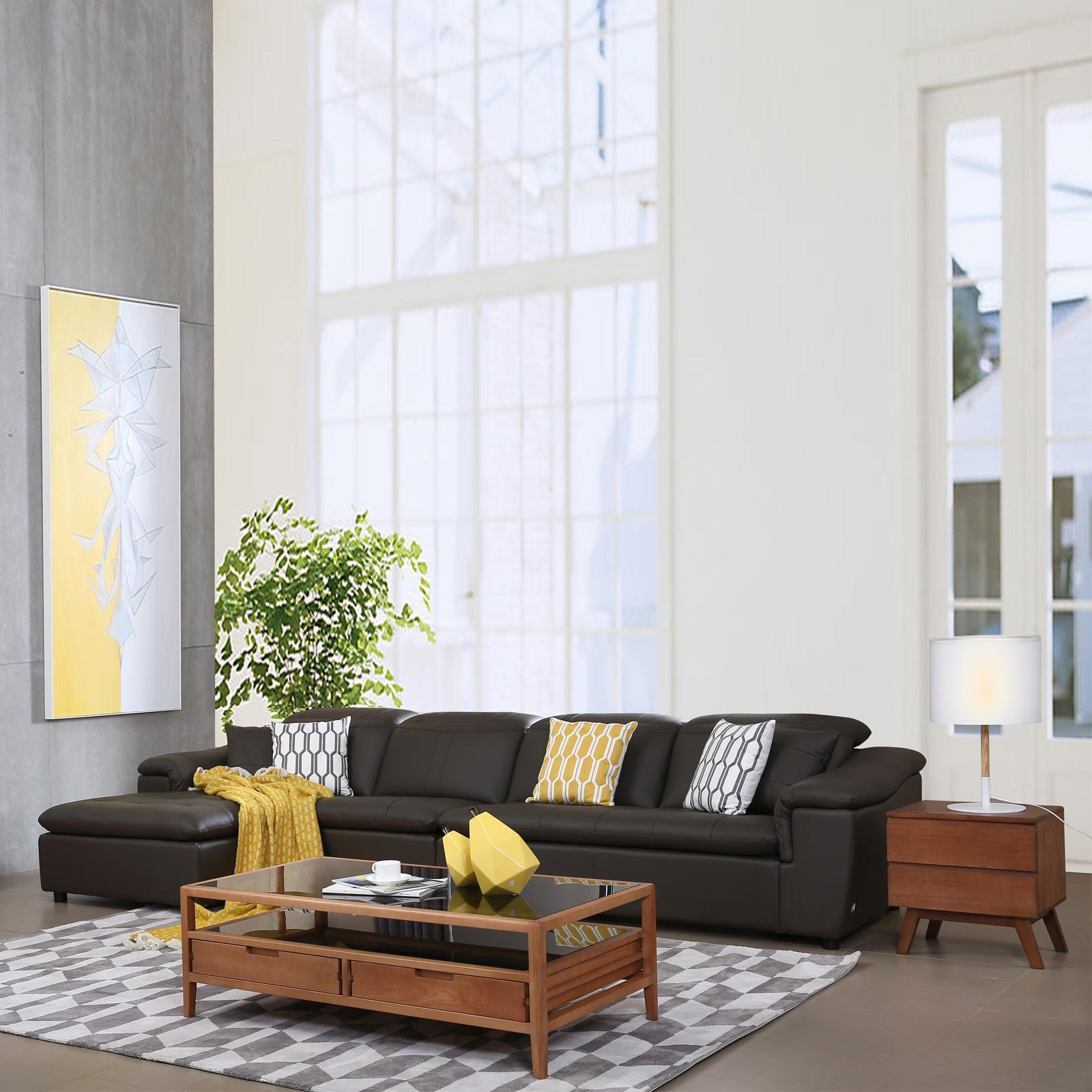 康耐登真皮沙发头层牛皮进口北欧简约客厅皮艺组合皮沙发大小户型