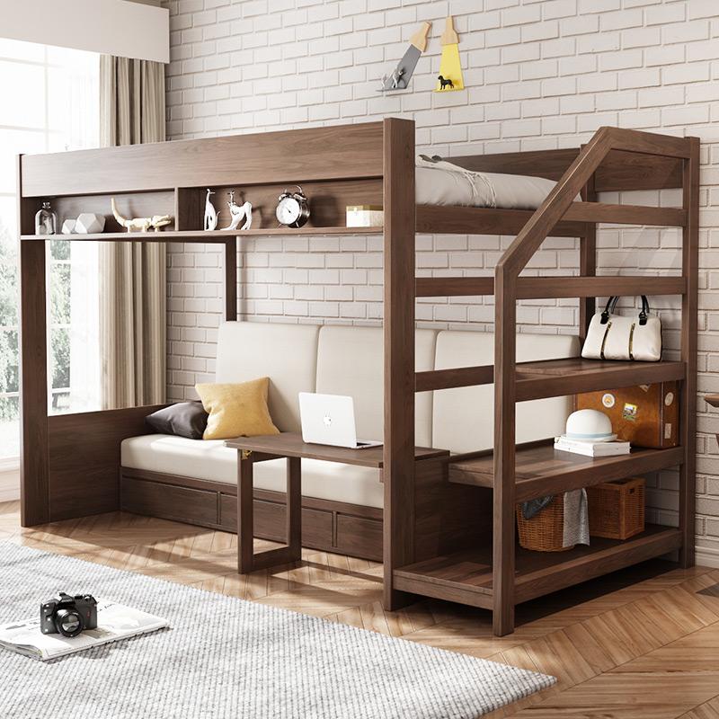 乐私现代简约高低床多功能儿童床上下铺床带书桌北欧小户型子母床