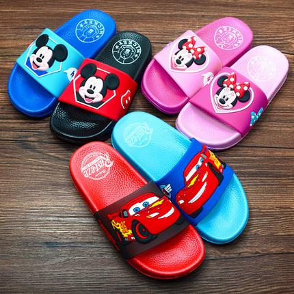 迪士尼麦昆米奇宝宝男童女童小孩浴室防滑汽车卡通儿童凉拖鞋夏季