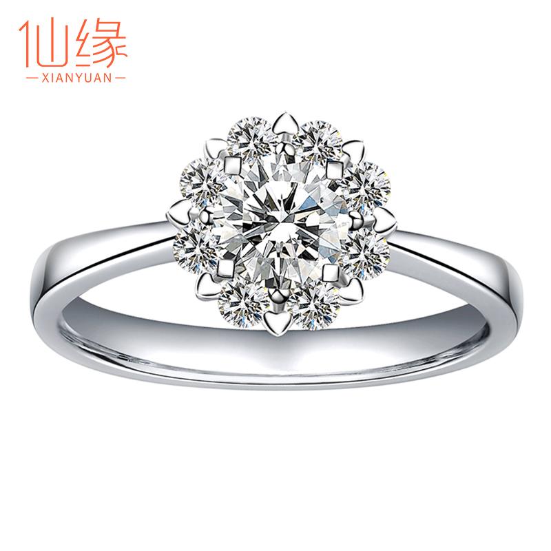 1克拉群镶钻戒正品钻石戒指女18k白金求婚铂金婚戒结婚女戒订婚