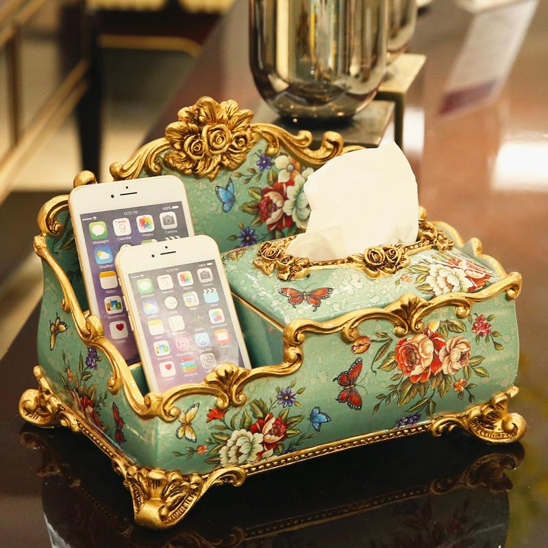 欧式多功能纸巾盒装饰抽纸盒 美式遥控器收纳盒复古客厅茶几摆件