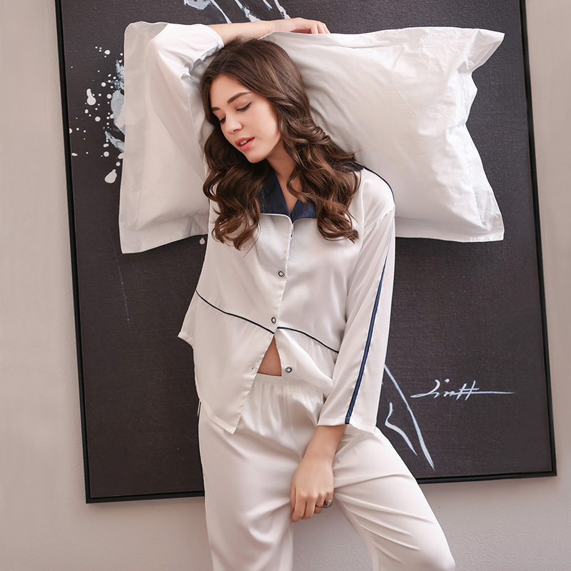 性感冰丝绸睡衣女秋冬季长袖韩版可外穿休闲少女家居服薄款套装