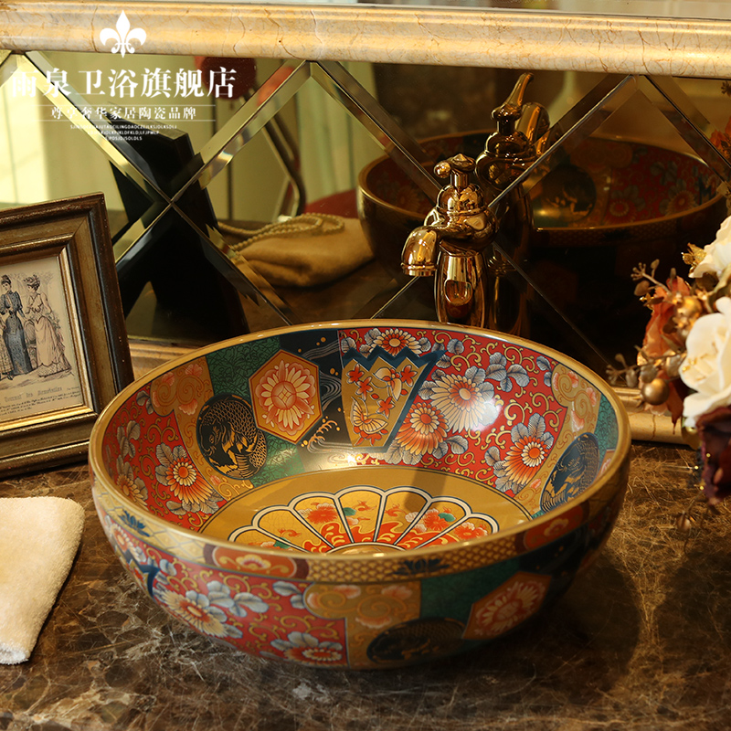 Jingdezhen ceramic stage basin circular lavatory sink art basin of continental basin of wash basin European antique