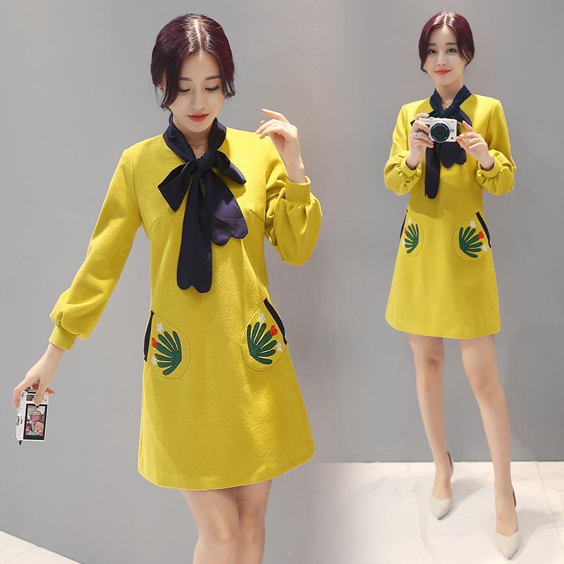 实拍2016秋装时尚图案黄色宽松长袖连衣裙秋绣花一步裙中裙