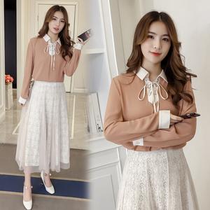 实拍2018春装新款职业衬衣雪纺衬衫纯色OL风长袖系带上衣女