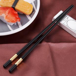 创健家庭酒店快子合金筷子套装10双家用防滑餐具不锈钢欧式实木20