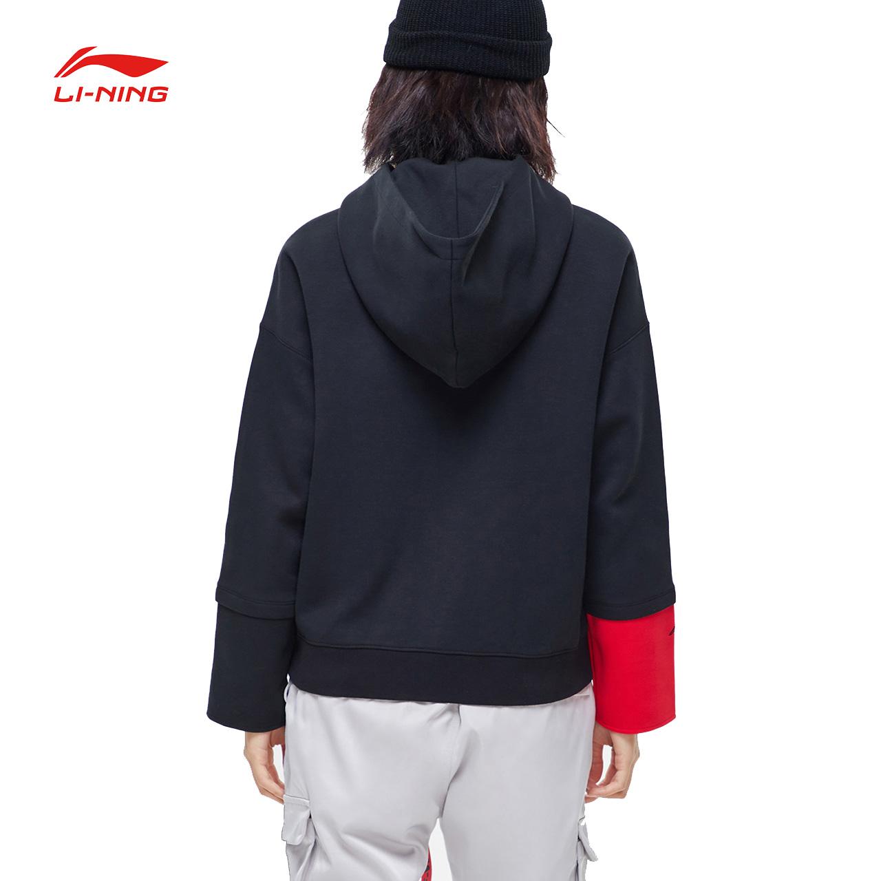 李宁财大气粗卫衣女2019新款春季套头连帽长袖外套女士运动服卫衣