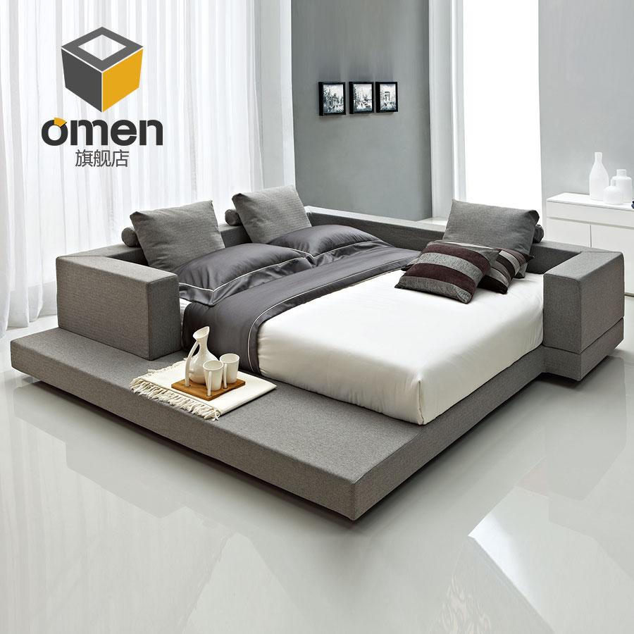 榻榻米床布艺床 主卧现代简约床北欧可拆洗多功能创意双人床个性