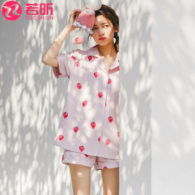 睡衣女夏季纯棉短袖韩版可爱清新学生甜美少女两件套装公主家居服