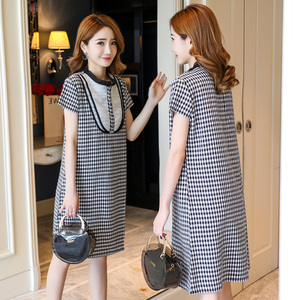 实拍#8822#   夏装新款韩版宽松格子圆领短袖孕妇连衣裙