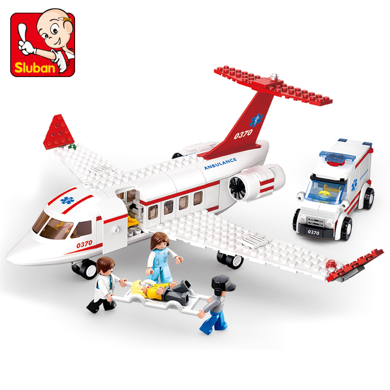 小鲁班拼装积木儿童益智塑料拼装积木玩具男孩红色飞机组装模型