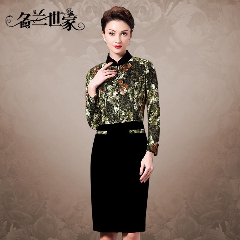 名兰世家长袖连衣裙秋女装中年妈妈装时尚大码蕾丝假两件连身裙