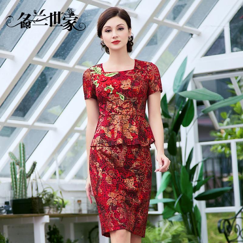 名兰世家2018夏新款中年妈妈装修身红色喜庆短袖显瘦宴会女连衣裙