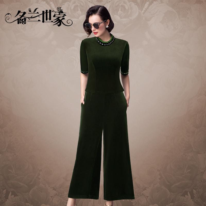 名兰世家时尚新款丝绒套装女五分袖优雅妈妈装宽松阔腿裤两件套