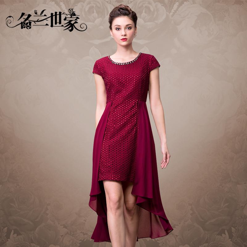 名兰世家夏装新款个性裙摆大码婚礼妈妈裙修身时尚宴会礼服连衣裙