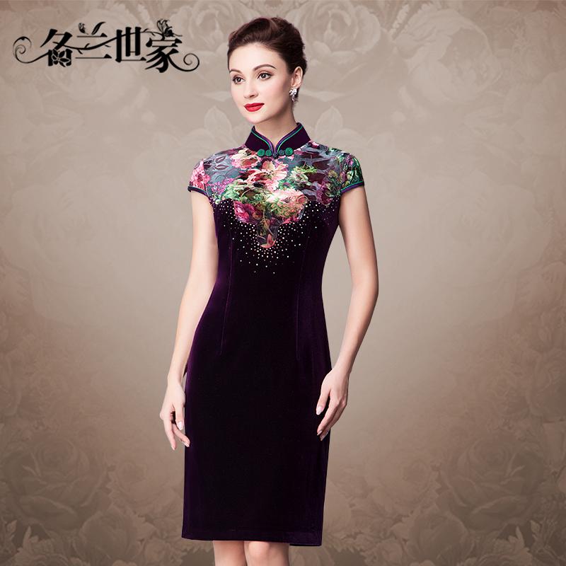 名兰世家中年妈妈夏装印花丝绒拼接改良短旗袍日常显瘦妈妈连衣裙