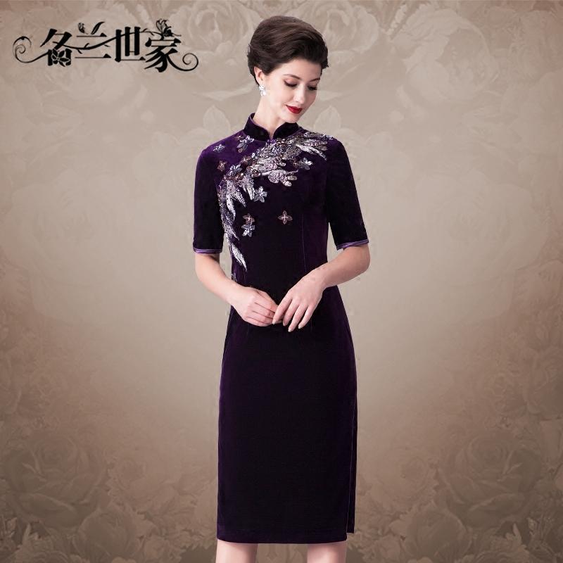 名兰世家春秋款中袖刺绣优雅大气端庄改良修身中式旗袍妈妈连衣裙