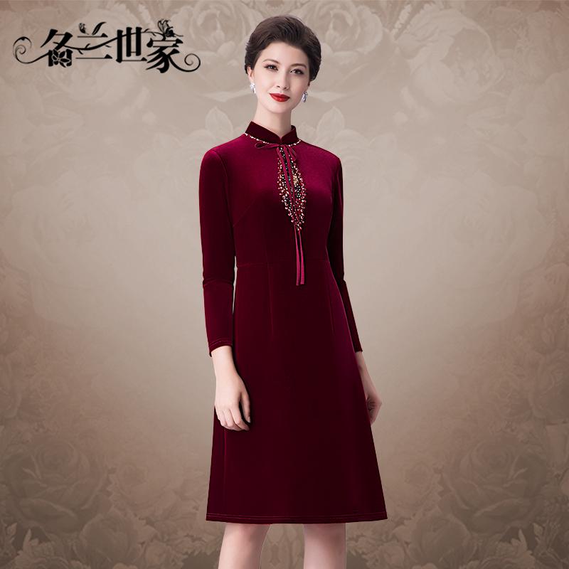 名兰世家优雅婚礼妈妈装丝绒连衣裙婚宴中年女装婚庆婆婆红色礼服