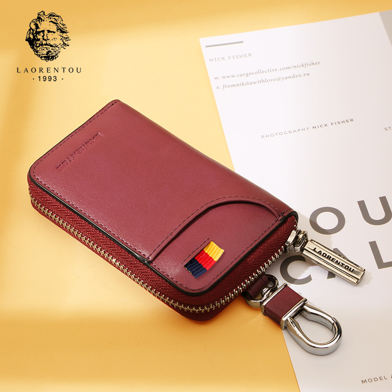 Elderly head key bag female 2018 new retro leather simple multi-functional waist hanging ladies car key chain bag