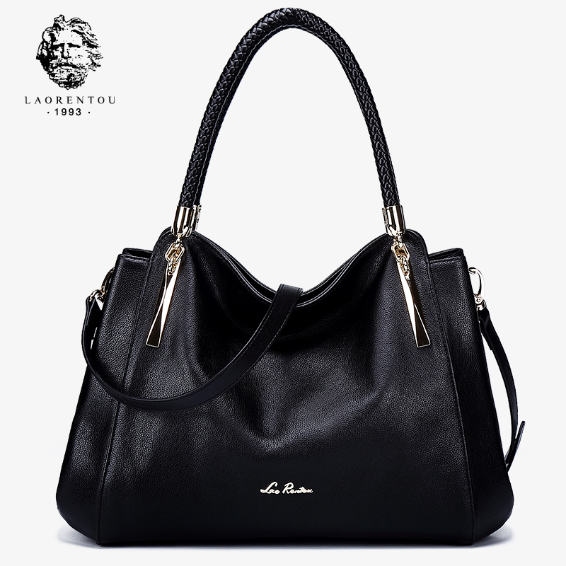 Old man head leather woman bag 2019 new European and American head cowhide reclining shoulder-shouldered atmosphere portable mother bag woman