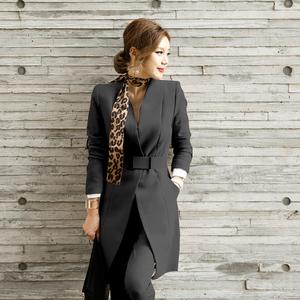 【高档女装】6166#职业套装女秋季新款中长款西装外套修身显瘦西装长裤两件套