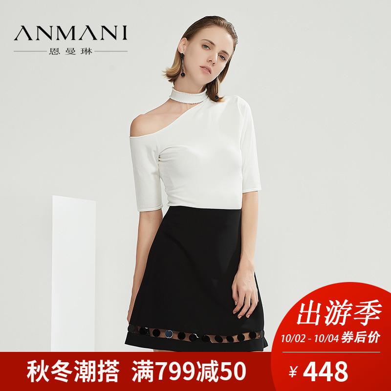 ANMANI-恩曼琳18春季新品镂空毛针织衫领圈珍珠修身上衣EAN8AF08