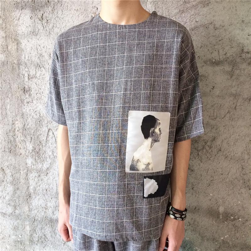 【jm】日系原宿复古 格子刺绣人物图案棉麻短袖t恤男