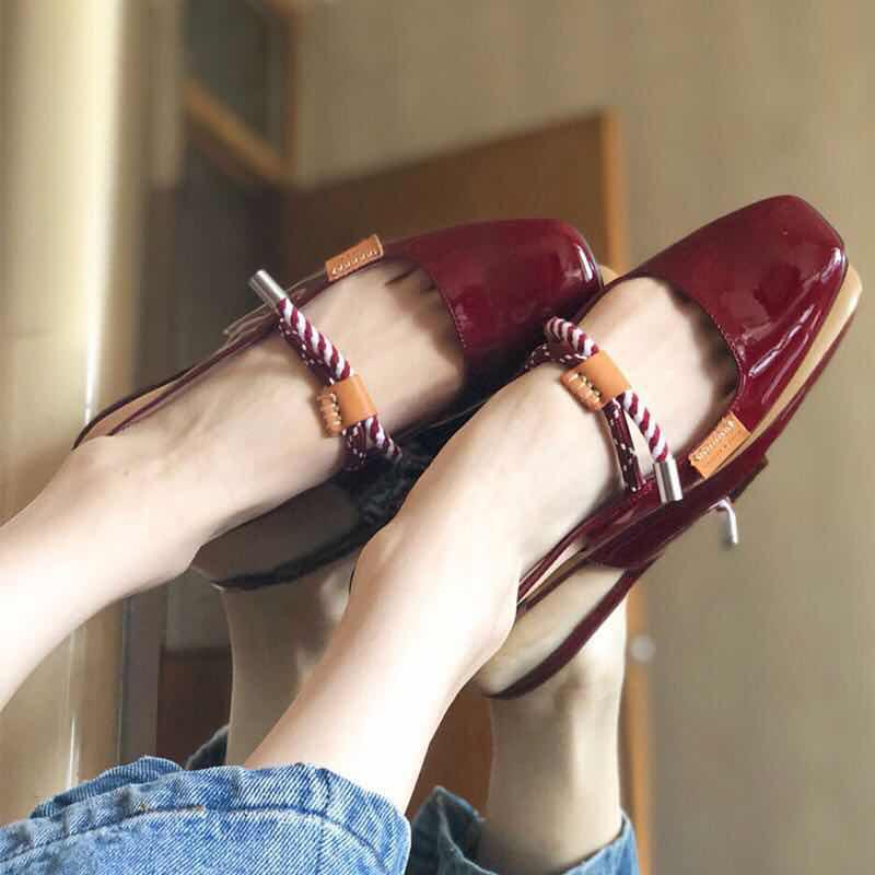 小CK2018新款凉鞋女夏包头单鞋平底温柔仙女少女chic后空玛丽珍