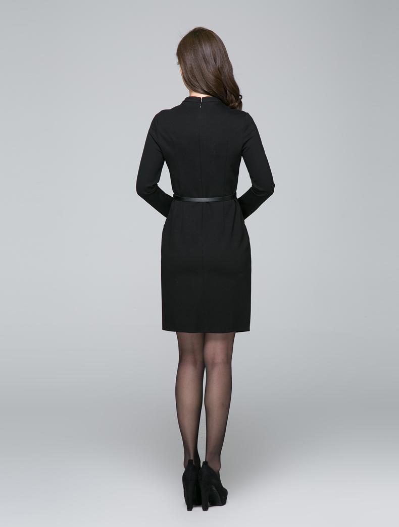 逸朗轩2017秋装新款女士裙子时尚镂空半高领气质修身包臀连衣裙女