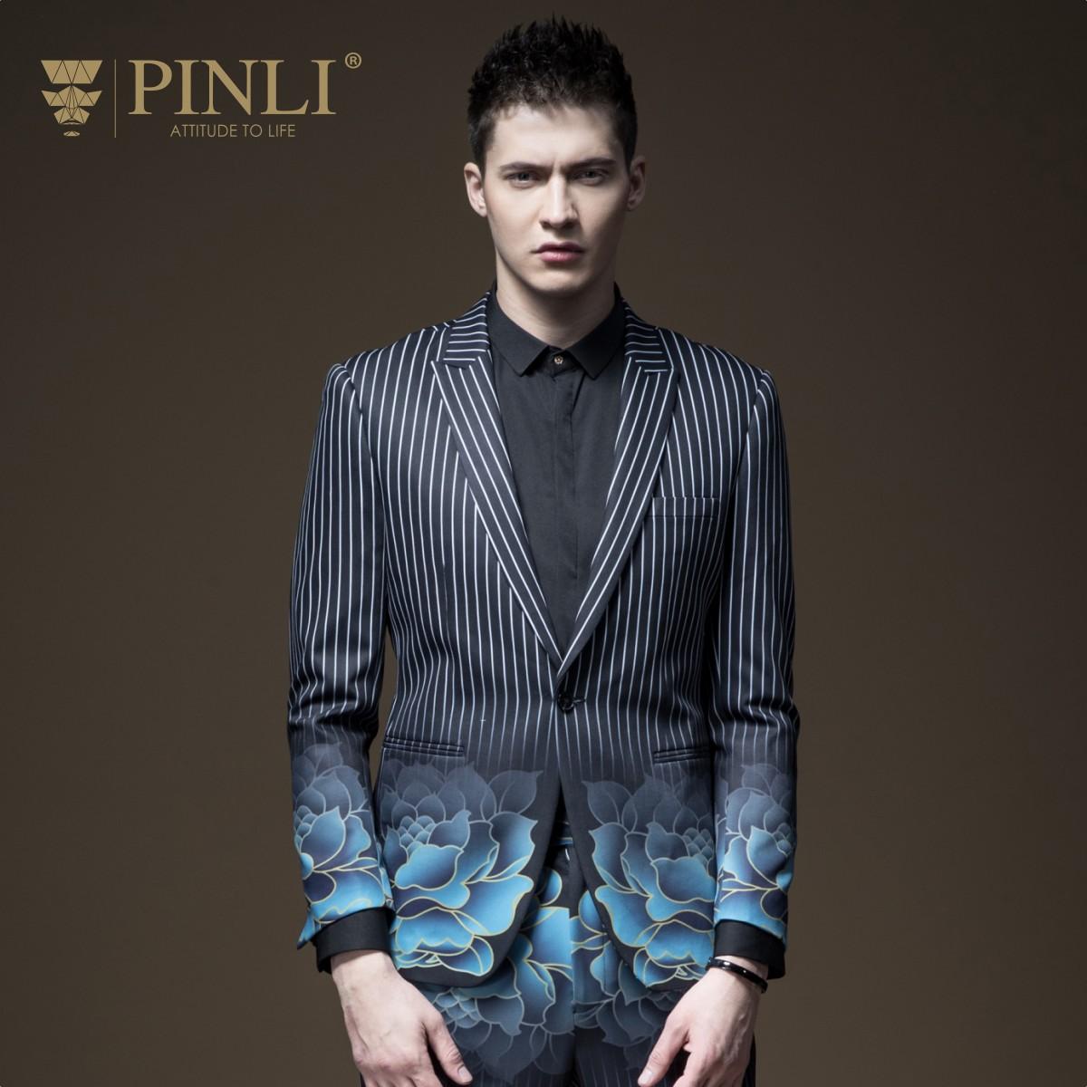 PINLI品立2018秋季新品男装修身印花条纹西装外套单西B181106122