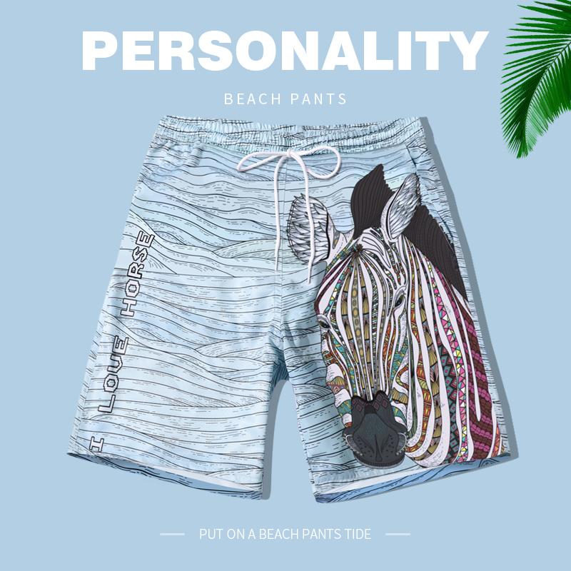 亦美珊沙滩裤男海边度假速干潮流骚气短裤温泉斑马个性男士游泳裤