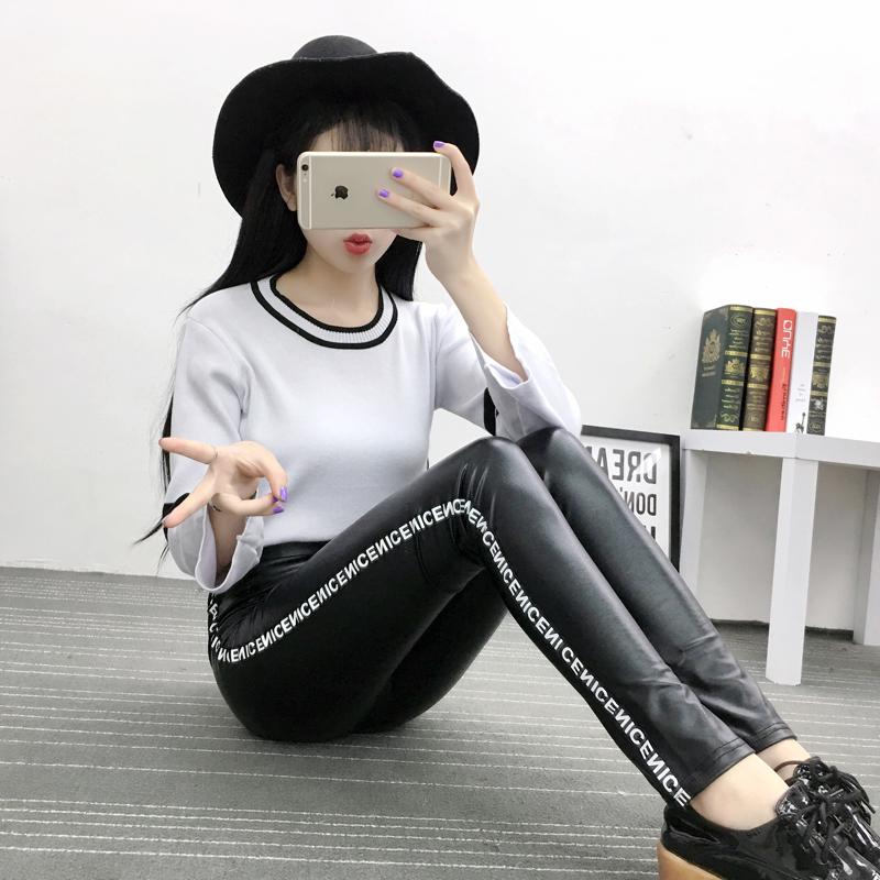 实拍 2016秋冬新款 韩版女装显瘦侧边字母PU皮打底裤铅笔裤