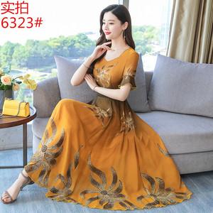 雪纺长裙子夏2019新款气质高端复古优雅连衣裙.