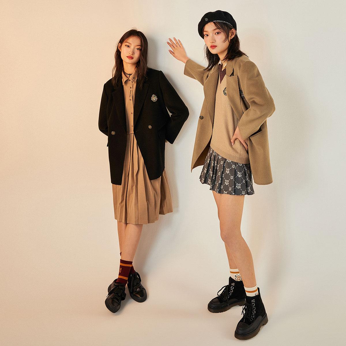 【哈利波特联名】太平鸟西装式外套女2020秋冬新款学院风毛呢外套