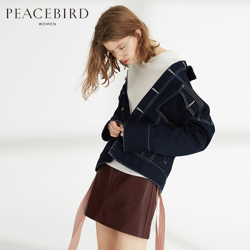 BEANPOLE/滨波 太平鸟女装2017秋装新款BF风纯色直筒宽松廓形印花牛仔外套女