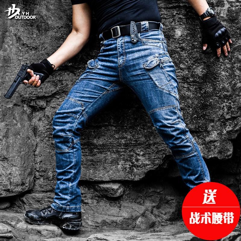逸鹤户外IX7战术牛仔裤男女冬季修身特种兵作训工装裤军迷登山裤