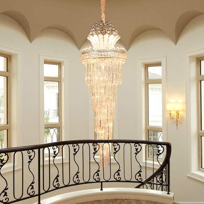 欧式复式楼梯大吊灯中空客厅水晶吊灯楼中楼长吊灯具酒店别墅工程