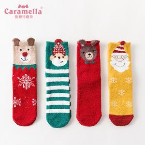 【买1送4】秋冬袜子女中筒儿童亲子袜睡眠袜卡通韩版学院风圣诞袜
