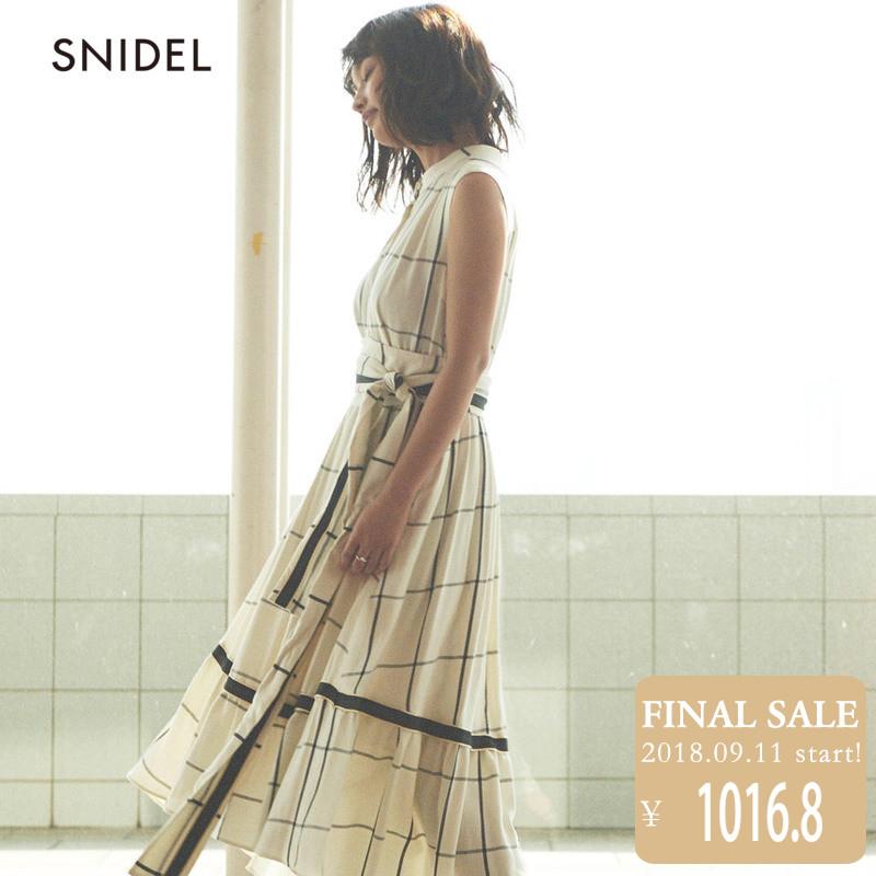 SNIDEL2018新品 无袖棉麻衬衫式连衣裙SWFO182036