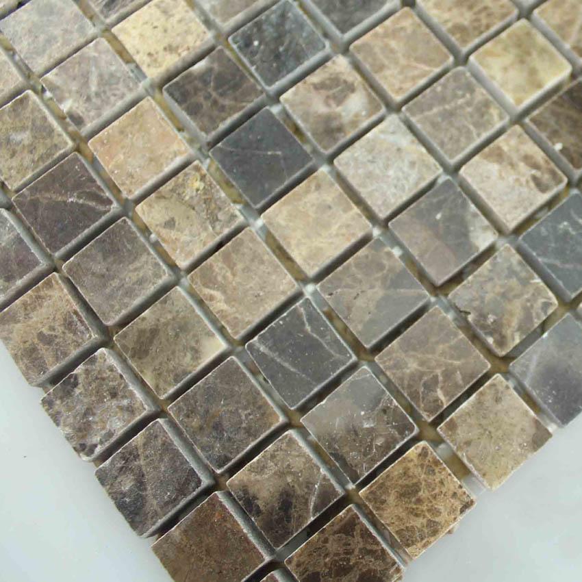 华铄5815天然进口深咖啡大理石材马赛克卫生间 厨房 玄关 马赛克