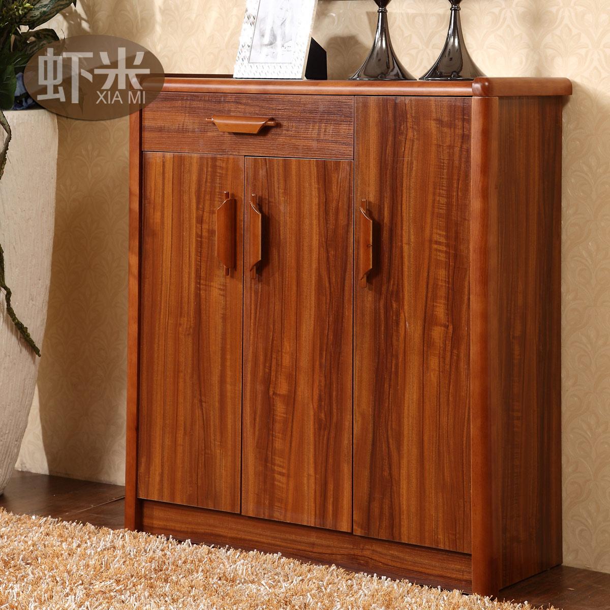 虾米家具现代中式简约乌金木色实木鞋柜c605