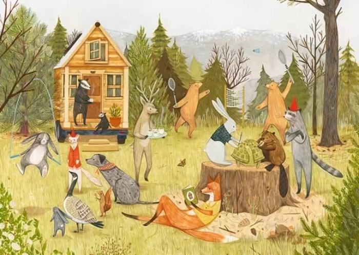 一棵树 纯手绘油画 客厅 卧室小孩房床背景 装饰画森林派对图片