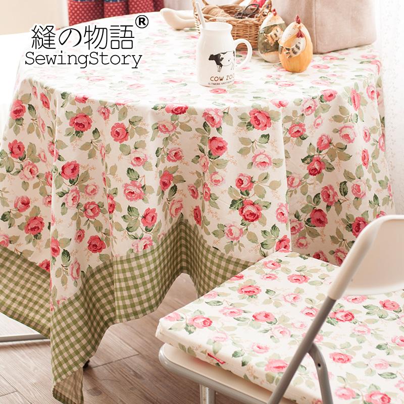 缝物语田园系列之玫瑰谷棉麻田园桌布A00TC053