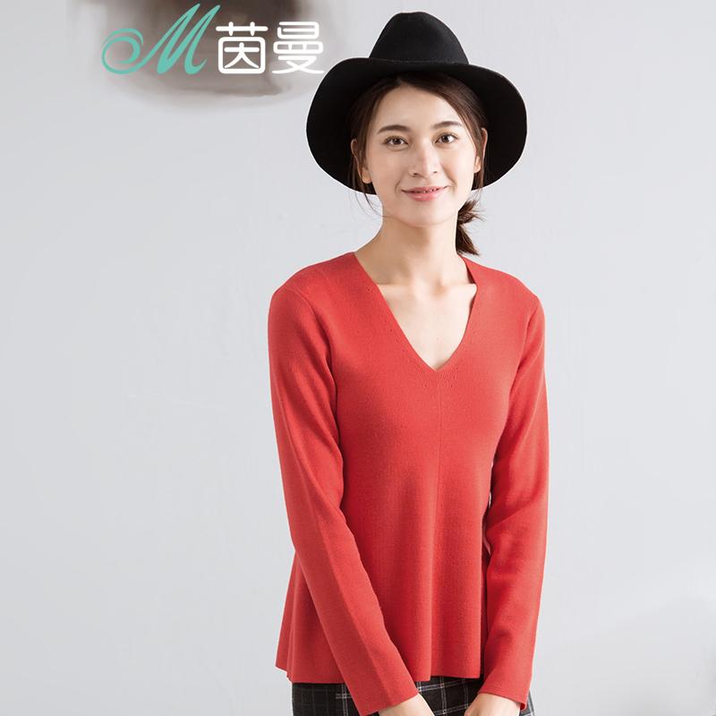 茵曼女装秋新款纯色V领保暖长袖套头羊毛毛衣女修身