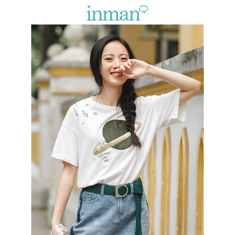 茵曼2018夏装新款纯棉圆领短袖珠片贴布绣花T恤女F1882022879