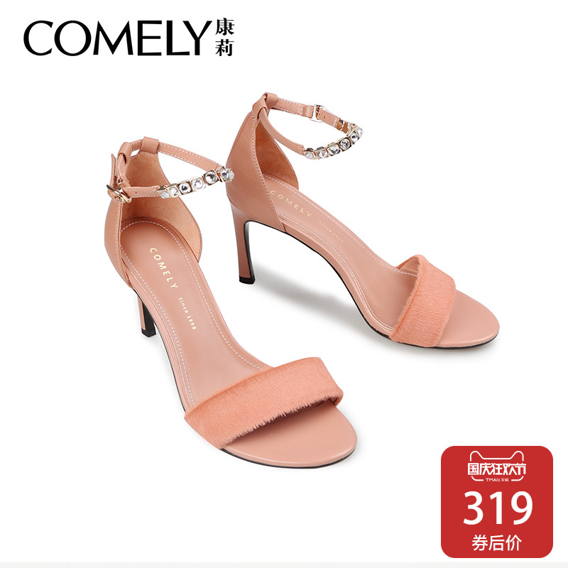 comely-康莉2018夏季新款一字扣高跟涼鞋女性感細跟時尚水鉆涼鞋