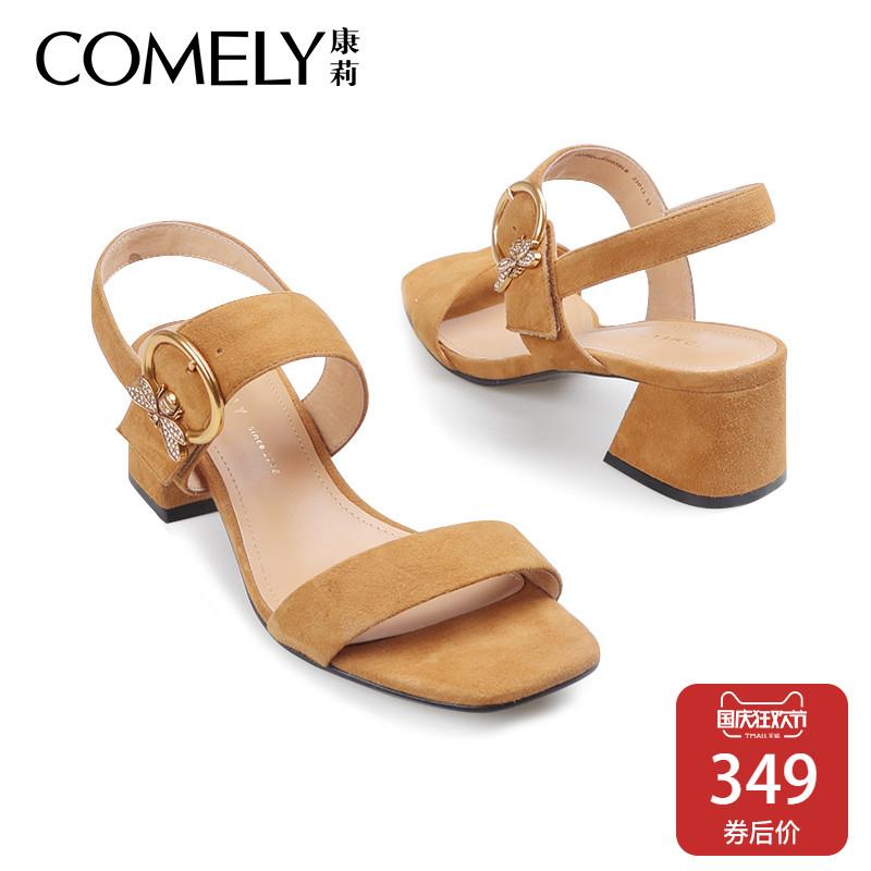 comely-康莉2018夏新款凉鞋女复古方头露趾魔术贴蜜蜂粗高跟凉鞋